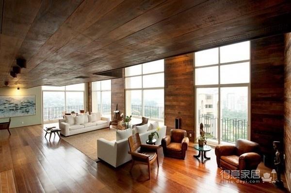 朴实的圣保罗全木住宅-客厅篇图_2