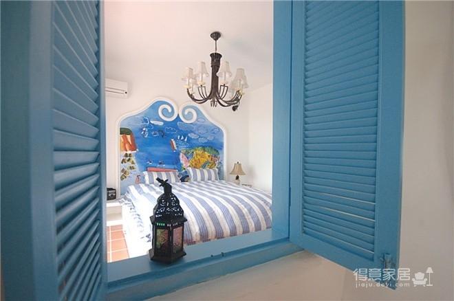 蓝色调为主地中海小清卧室图_4