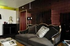 新古典混搭二居,棕色墙面折射微浪漫图_2