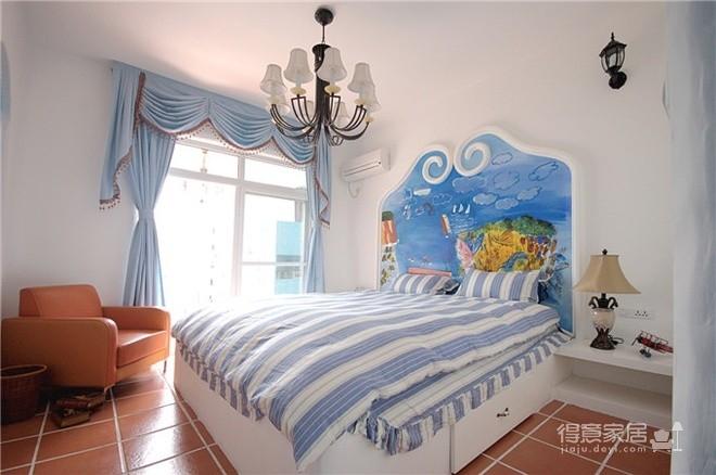 蓝色调为主地中海小清卧室图_1