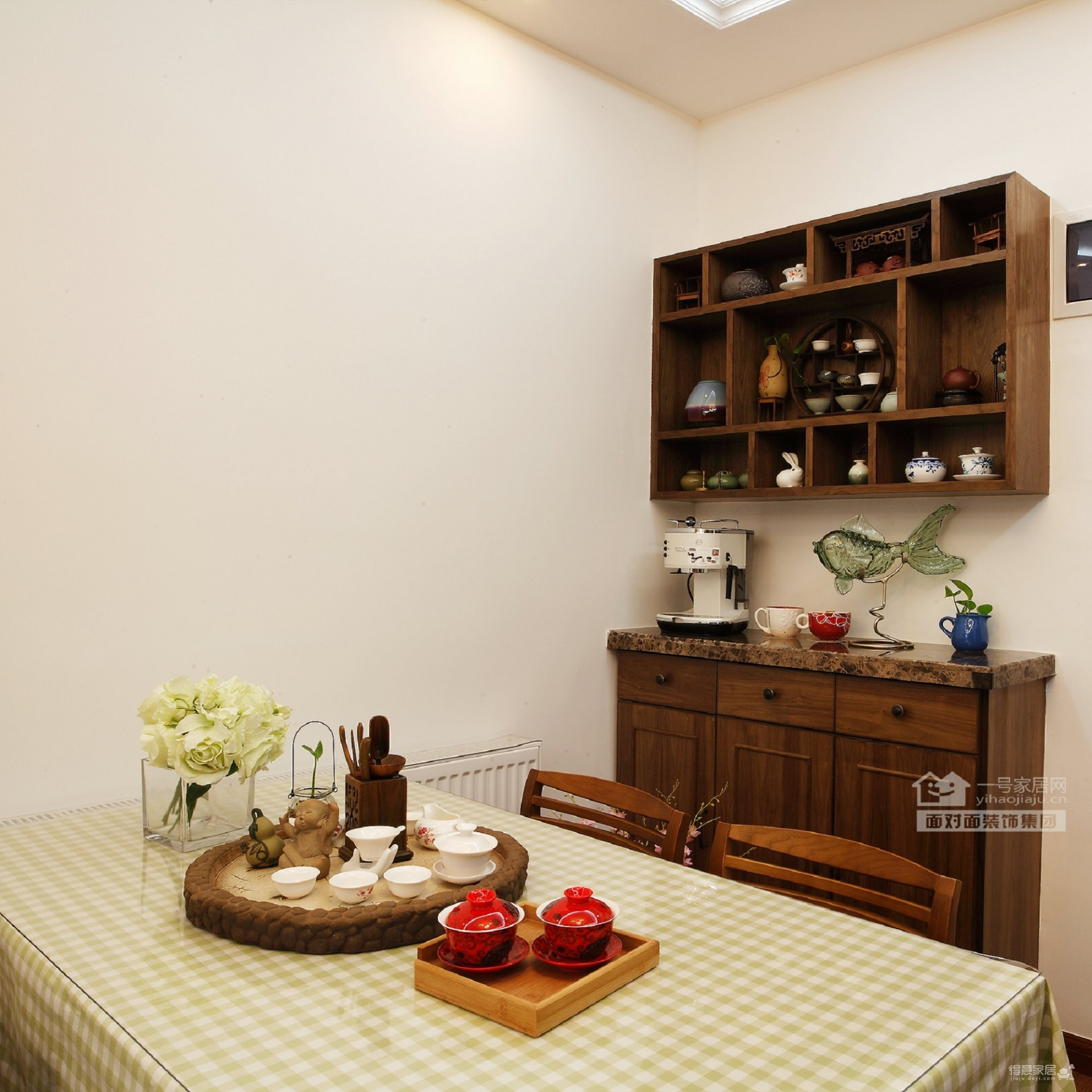 保利心语68平新中式客厅餐厅装修实拍图图_6