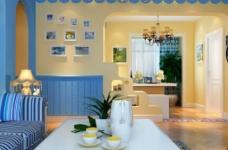90平米地中海风格两居室/时尚舒适的简约蓝色图_3