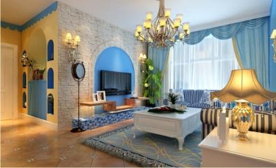 90平米地中海风格两居室/时尚舒适的简约蓝色