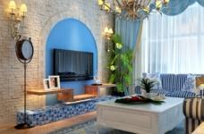 90平米地中海风格两居室/时尚舒适的简约蓝色图_1