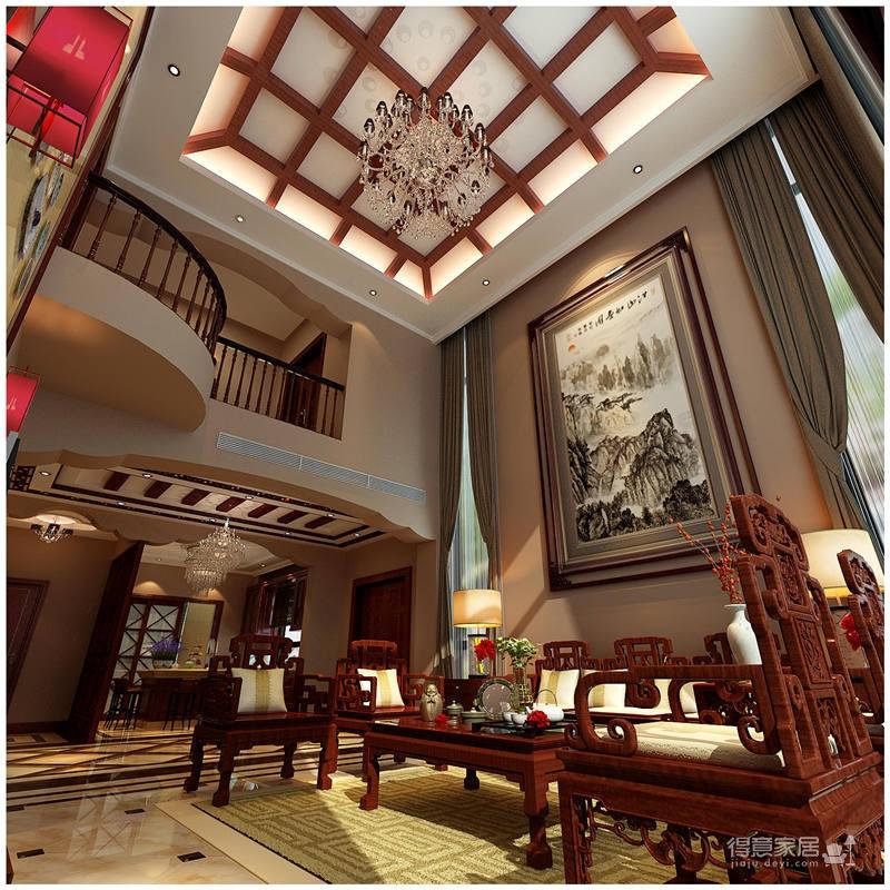 320平米别墅装修/新中式风格的独特演绎图_1