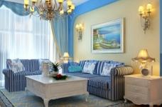 90平米地中海风格两居室/时尚舒适的简约蓝色图_2