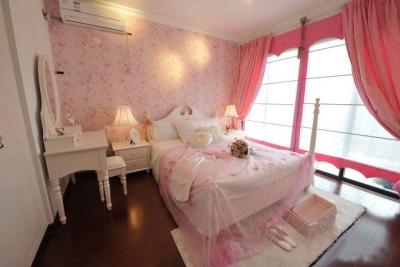 组-粉色公主田园卧室