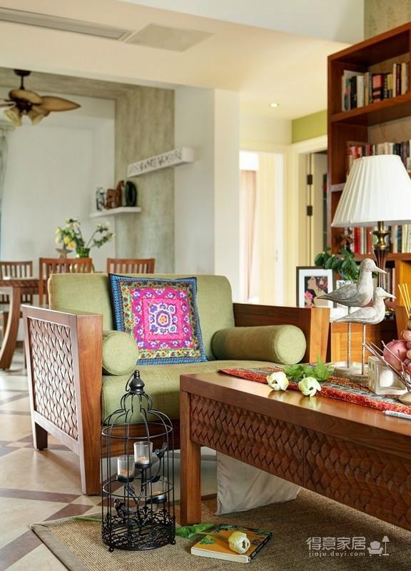 组-东南亚风格客厅 129平米图_11