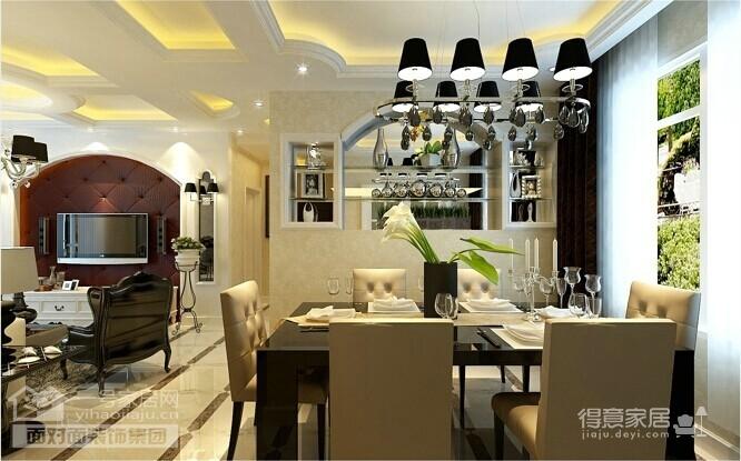 90平的现代简欧两室两厅装修图图_2
