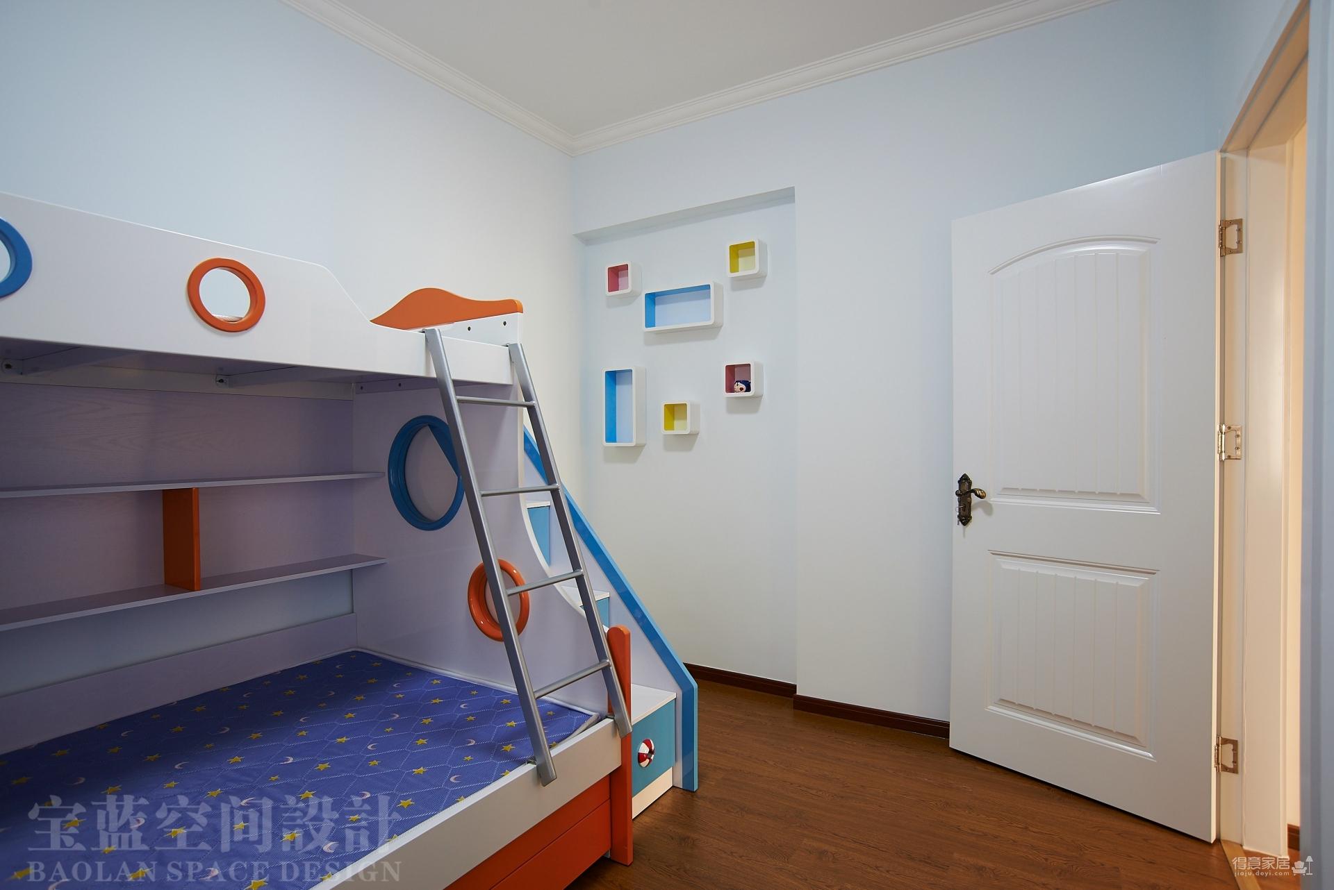 汉口湖畔-90平-儿童房-蓝色高低床图_3
