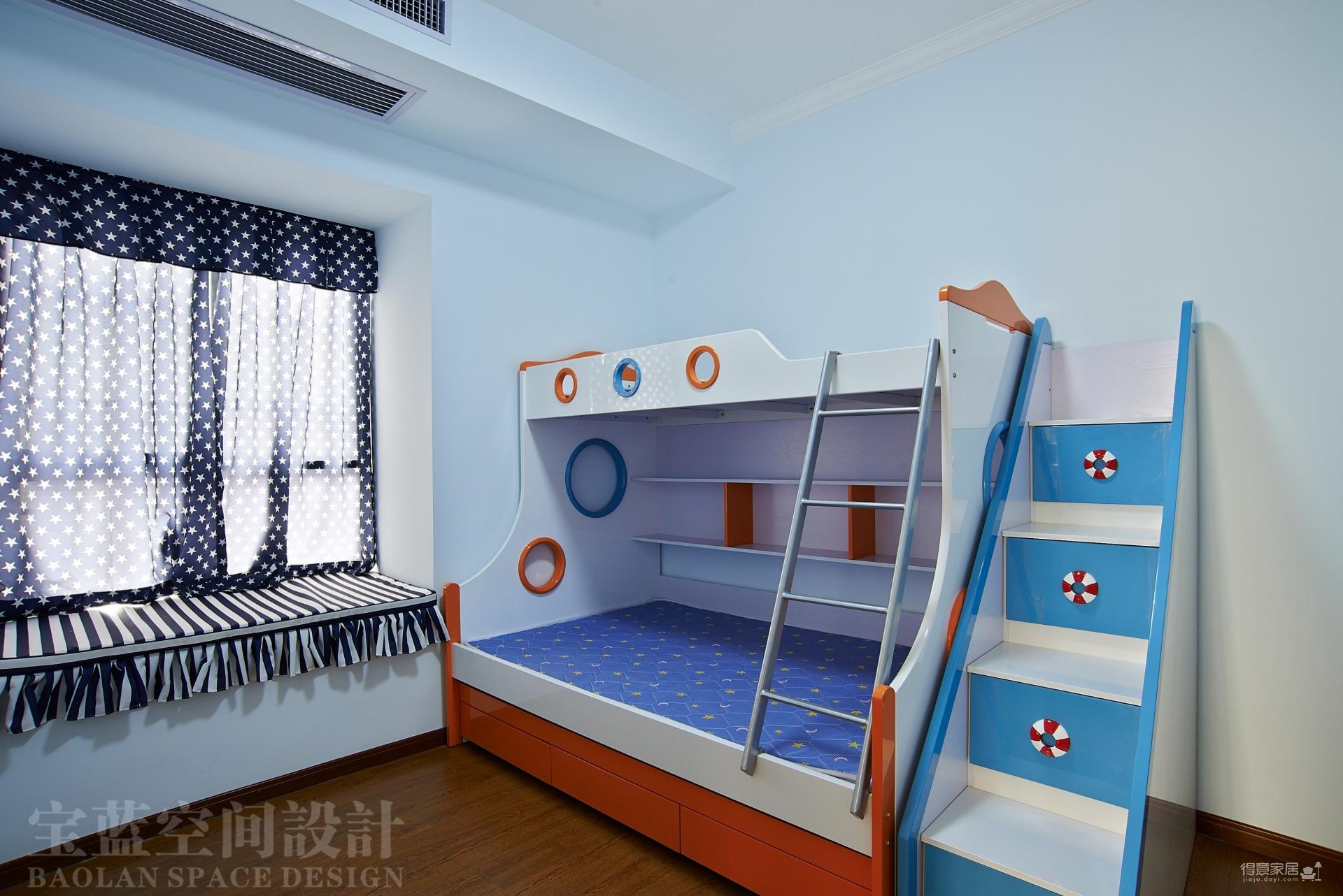 汉口湖畔-90平-儿童房-蓝色高低床图_1