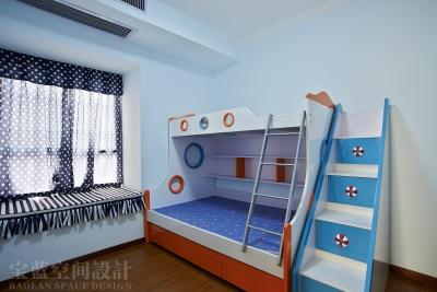 汉口湖畔-90平-儿童房-蓝色高低床