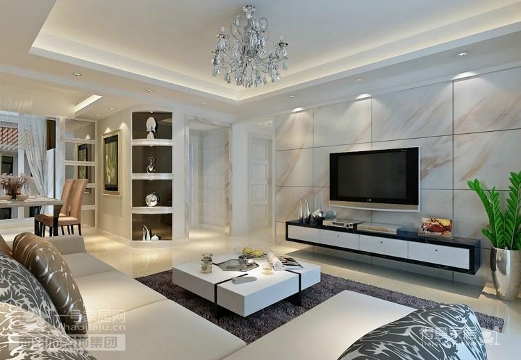 128平现代简约三居室装修图图_2