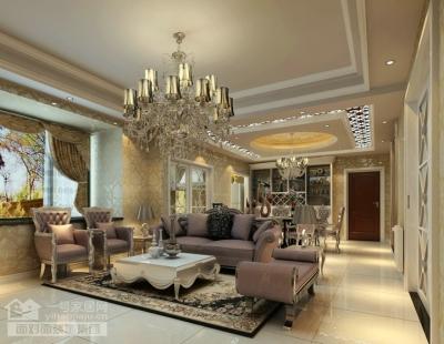 现代欧式的132平三室两厅装修设计图