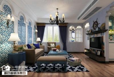 惠誉花园-95平-地中海风格-三室两厅