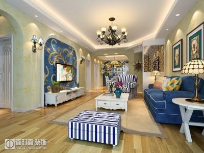 地中海风格130平的三室两厅装修图