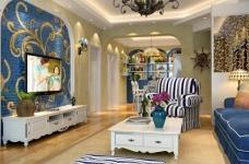 地中海风格130平的三室两厅装修图图_1