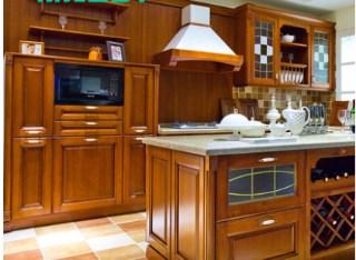 丽维家实木橱柜 整体厨房橱柜 定做实木橱柜门整体厨柜 配件高档石英石台面 进口五金 3.6米地柜+1.2米吊柜套餐