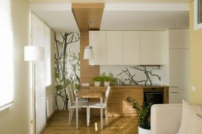 绿植+原木妆点37平单身公寓
