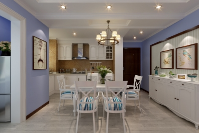 海昌天澜-121平-地中海风格-三室两厅(客餐厅效果图)