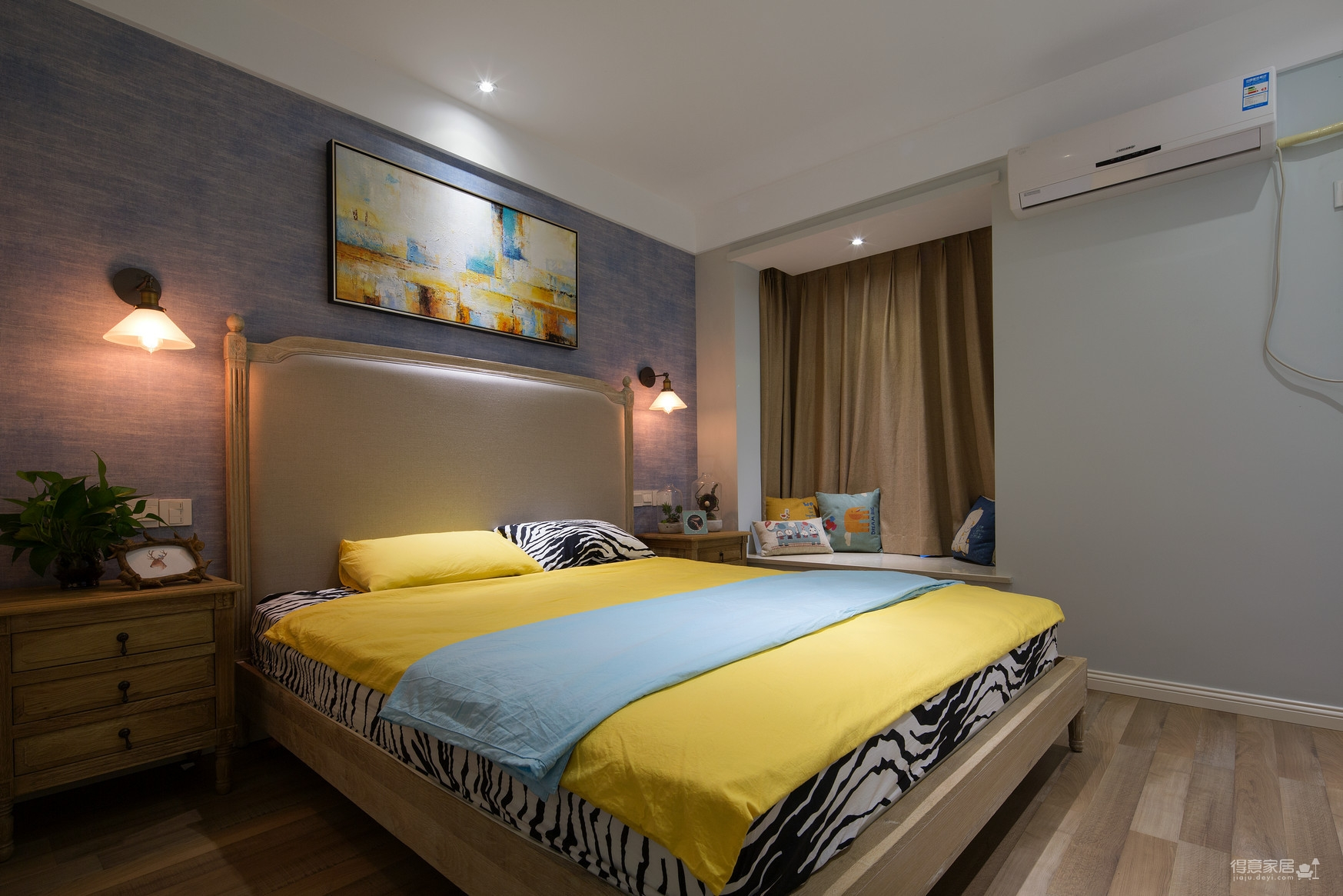 130平现代蓝色样板间装修效果图_得意家居装修图库