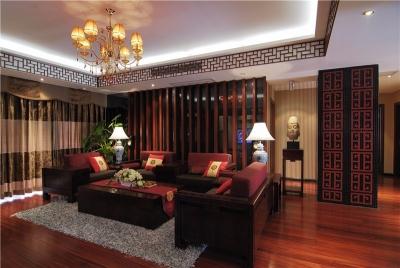 汉阳人信汇二期天悦中式风格装修案例效果图105平