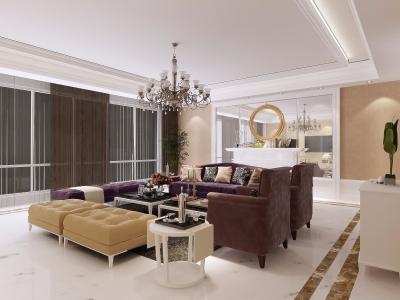 百瑞景中央生活区四期欧式风格装修案例效果图125平