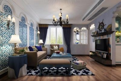 惠誉花园95平三居室地中海风格