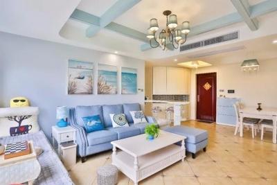 远洋世界-110㎡地中海风格,客厅飘窗超美超仙