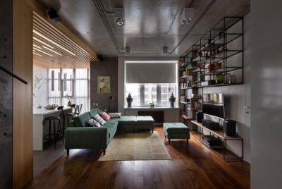 80平工业现代风,祖母绿的沙发美爆了!