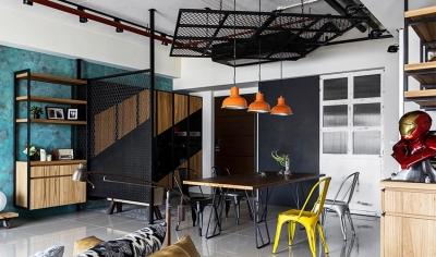 45平工业风loft,青铜色墙面超亮眼