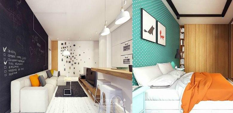 98平两室两厅宜家风,用最简单的黑白色搭配,增加空间的视觉感,背景墙用黑板代替,也成了装饰的一部分