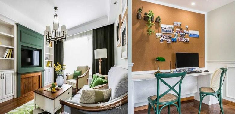 两室两厅美式风,主调采用绿色,搭配舒适的布艺家居,透过软装给家里带来满室生机