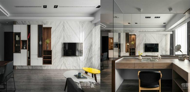 110平黑白灰现代简约家,木纹的点缀让原本时尚高冷的空间透露出些许温暖和自然