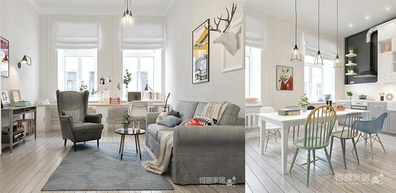 非常经典的北欧小家,透过家具摆设,把小家庭需要的生活机能规划得刚刚好