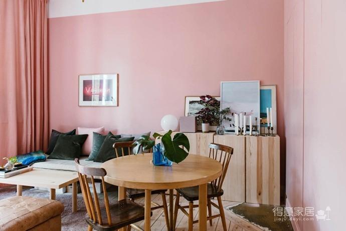 30㎡单身公寓设计,小而美的粉色蜗居图_3