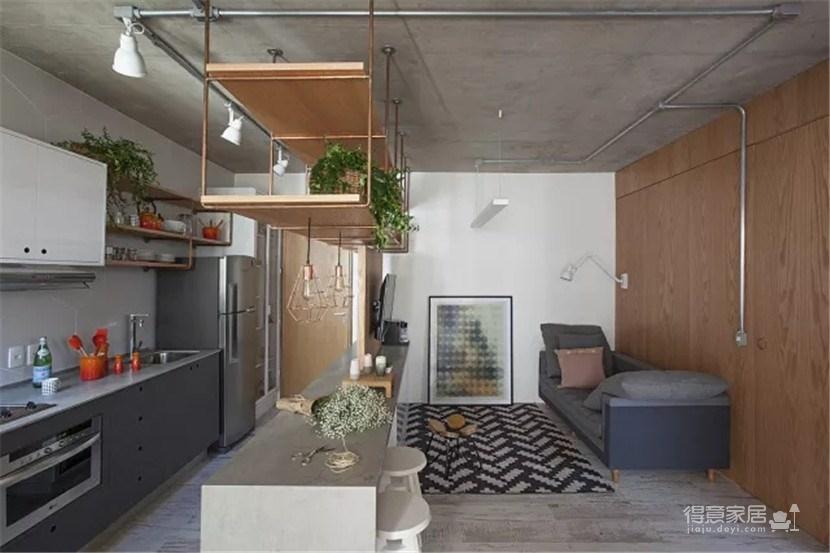 将工业风与北欧风融合在一起的一居室公寓