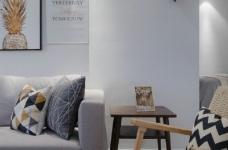 90㎡北欧风,柔和的中性色很温馨舒适,餐厅壁纸很有意思!图_3