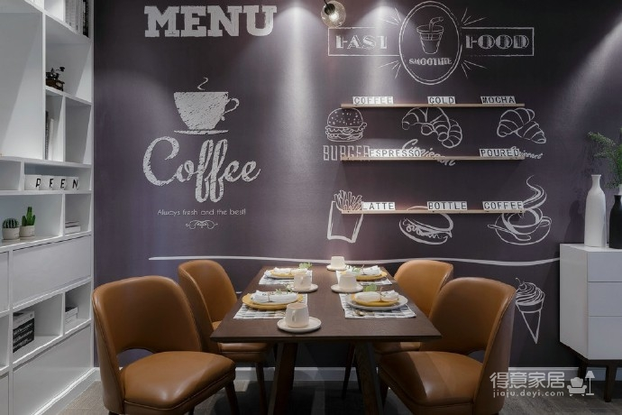90㎡北欧风,柔和的中性色很温馨舒适,餐厅壁纸很有意思!图_9