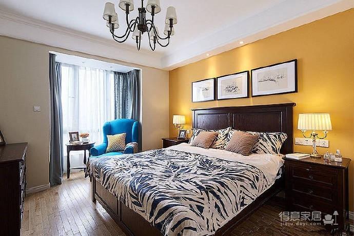 120㎡简约美式风,卧室的用色很大胆,很喜欢! 