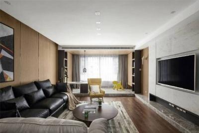 125㎡简约现代风,黑白色与木纹搭配出清新又格调的氛围