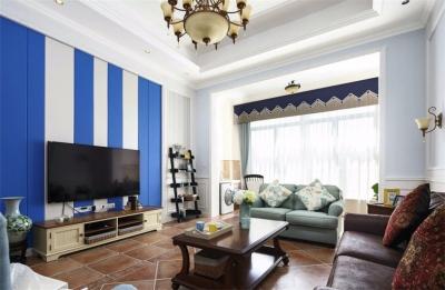 140平美式风格三房,蓝色慢生活