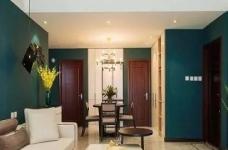 以墨绿为背景色 内敛低调的新加坡风格125㎡三室住宅图_2