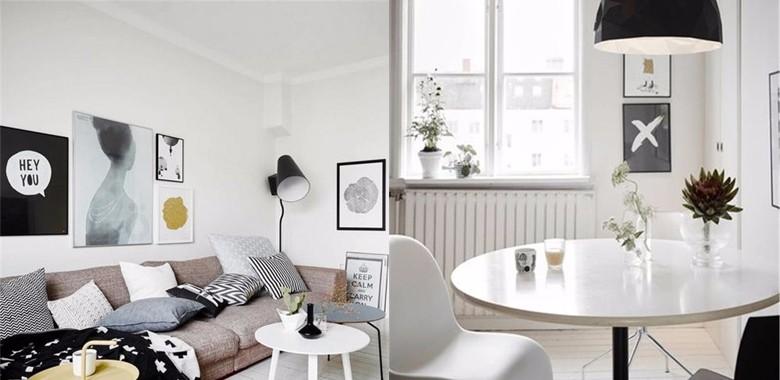 满眼的白色,从客厅延伸到餐厅,空间达到极高的统一性,棕色布艺沙发增添了视线的丰富性!