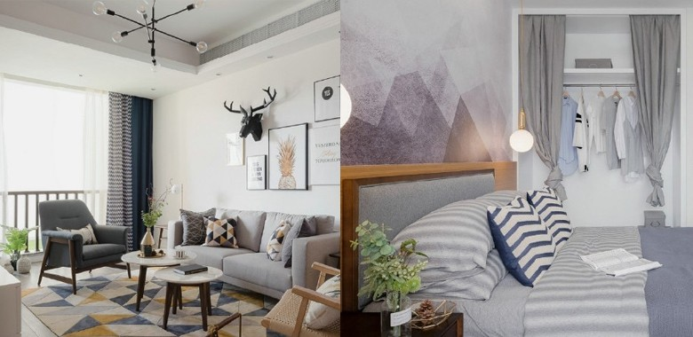 90㎡北欧风,柔和的中性色很温馨舒适,餐厅壁纸很有意思!