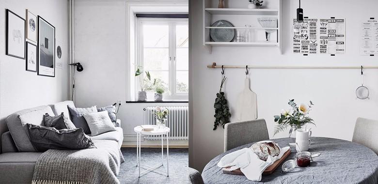 36㎡公寓布局略呈Z形,整间公寓采用灰色进行装饰,加上经年的木质元素,怀旧别致。