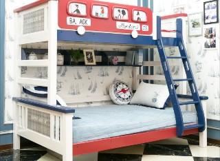 多喜爱儿童家具巴士实木炫彩高低床DNA501-1.2M