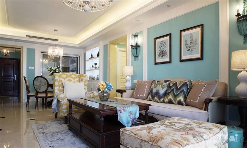 120平米美式风格装修,休闲四居室图_1