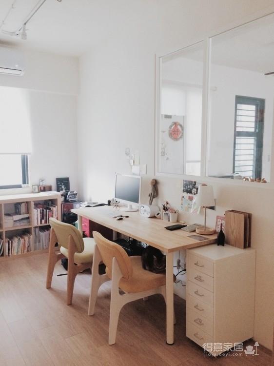 33年老公寓翻新记,书房透明玻璃隔断超清爽