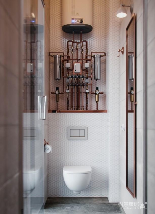金属质感的线性魅力!俄罗斯13坪古典工业风单身宅图_9